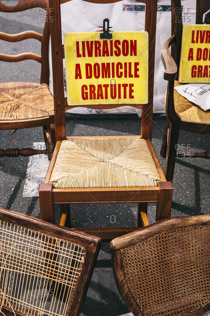 Woven chairs at flea market