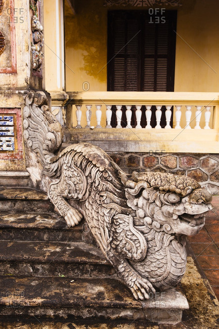 Ornate decoration of dragon on staircase within the former Imperial City citadel