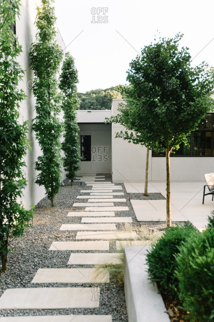 Walkway with stepping stones through courtyard