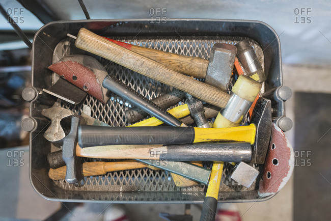 Various hammers in a box