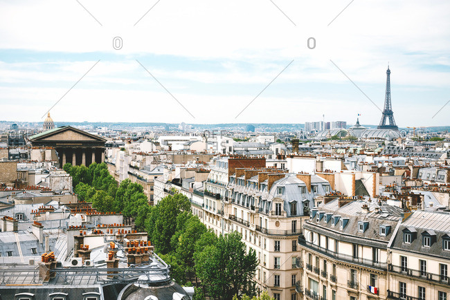 France, Paris, view of the city with the Eiffel Tower at right and Madeleine church at left