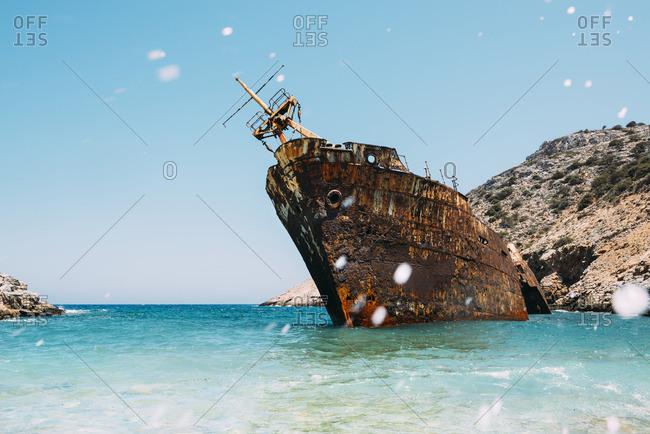 Greece, Amorgos, Shipwreck of the Olympia