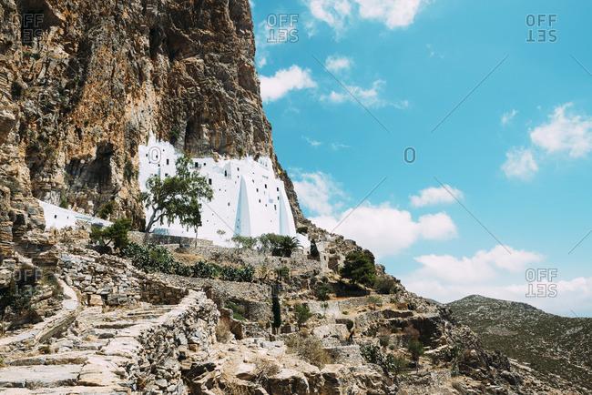 Greece, Amorgos, view to Hozoviotissa Monastery