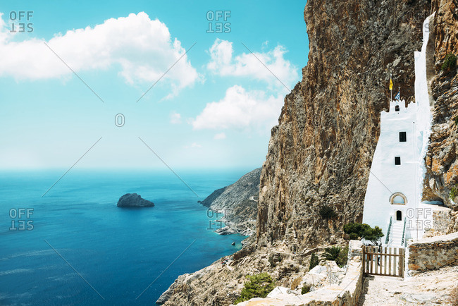 Greece, Amorgos, view to Hozoviotissa Monastery