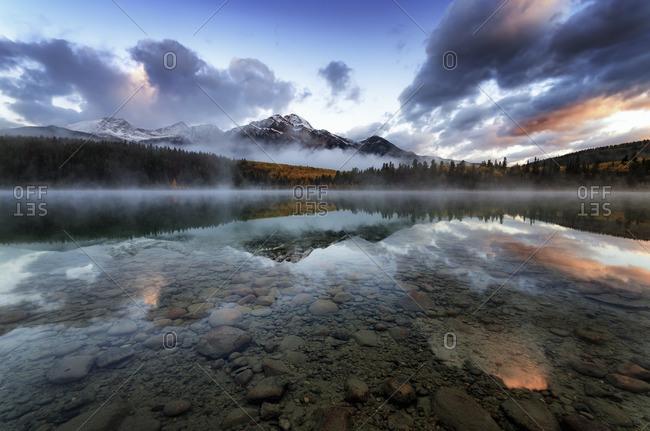 Canada, Jasper National Park, Jasper, Pyramid Mountain, Patricia Lake in the morning