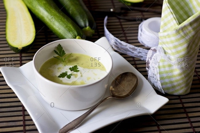 Bowl of zucchini potato soup
