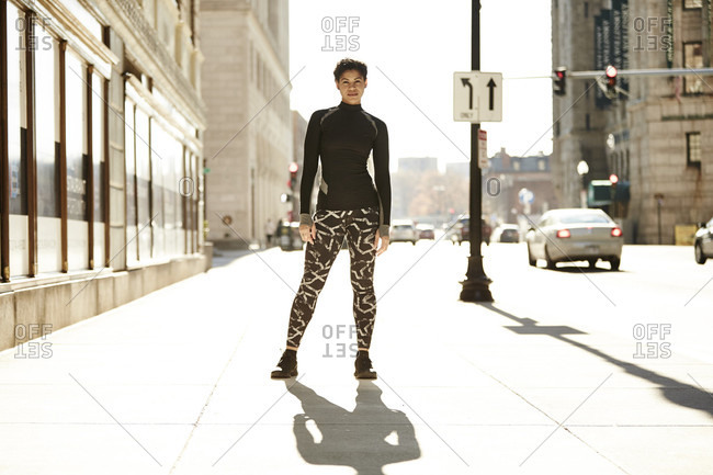 Portrait Of An Athletic Woman Standing On Street In Boston