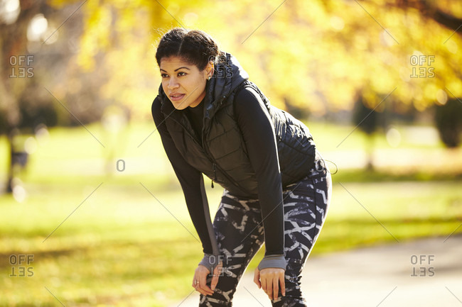 Athlete Woman Standing In Park