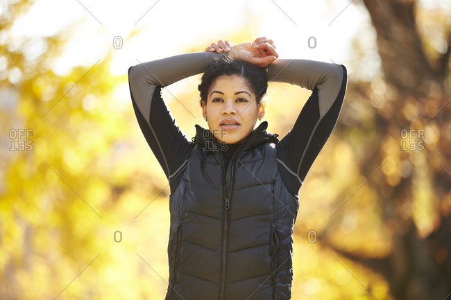 Portrait Of An Athletic Woman In Park