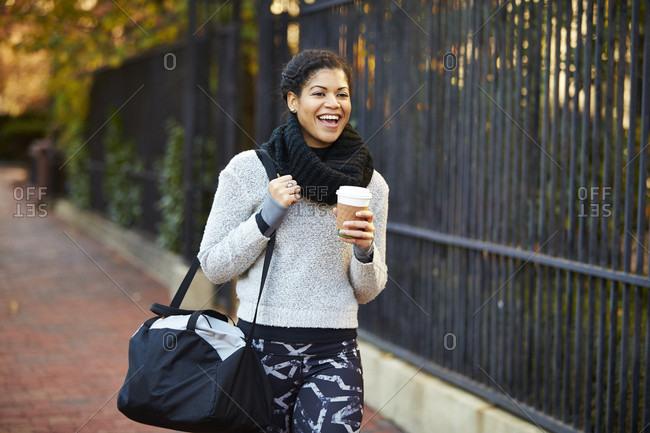 Young Athletic Woman Enjoying Coffee In Boston, Usa