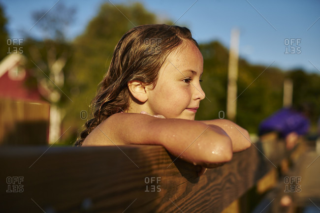 Young Girl Leaning On Footbridge At Vermont