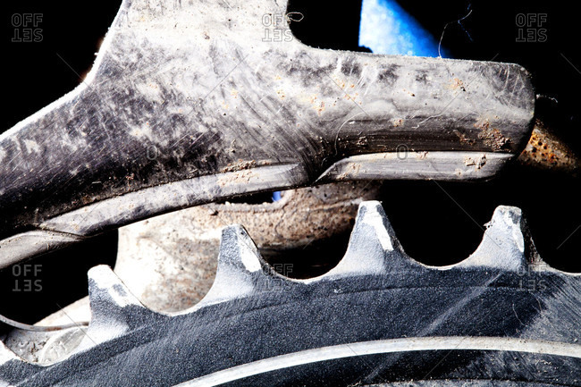 Close-up Of Chainring And A Front Derailleur On A Mountain Bike