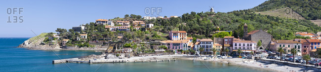 Panoramic View Of Beach And Harbor At Collioure