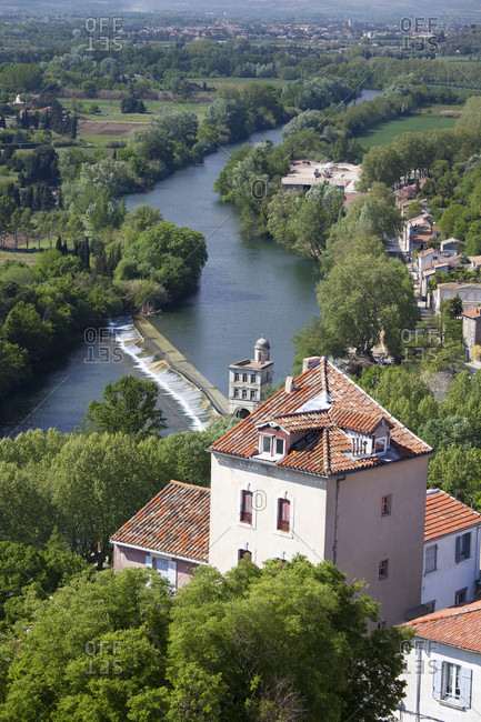View Of River Orb From The Top Of Beziers Cathedral In Languedoc-roussillon, France, Europe