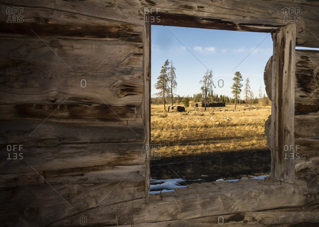 Ghost Town In Wyoming Through The Wooden Window In Utah, Usa