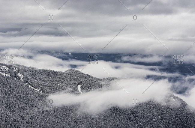 Clouds Roll Through The Whistler Valley On A Cold Winter Day In British Columbia
