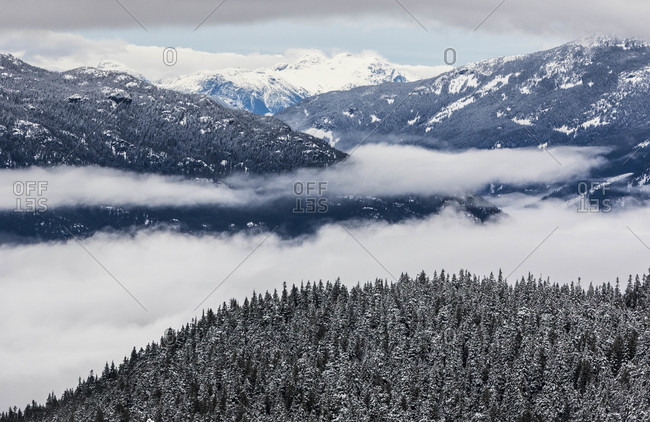 Clouds Roll Through The Whistler Valley In British Columbia