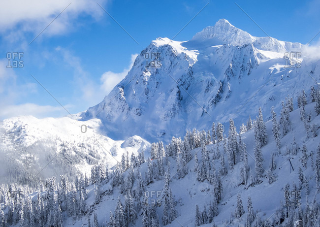 Mount Shuksan Covered In Snow In Northern Washington