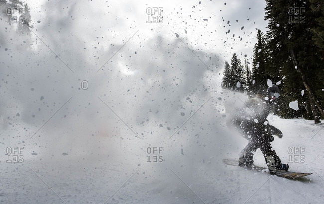 Snowboarder Sprays Snow Into The Air Riding A Groomed Trail During At Brighton Resort, Utah