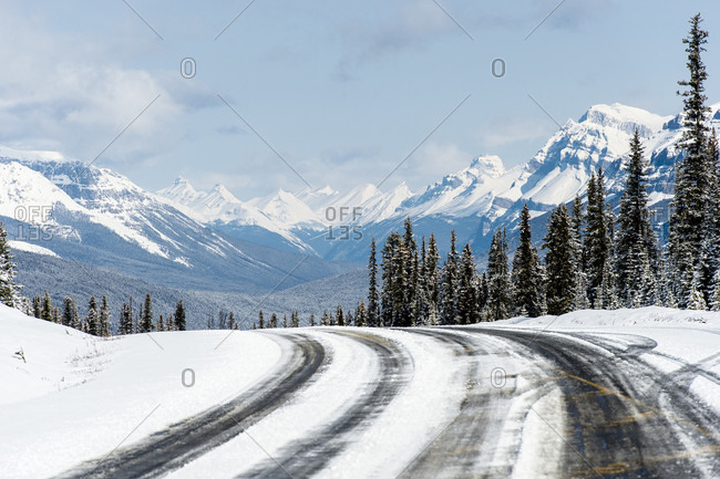 View Of Snowy Roads In Canada