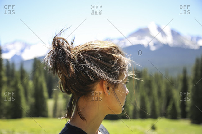 Girl Looking At The San Juan Mountains In The National Forest