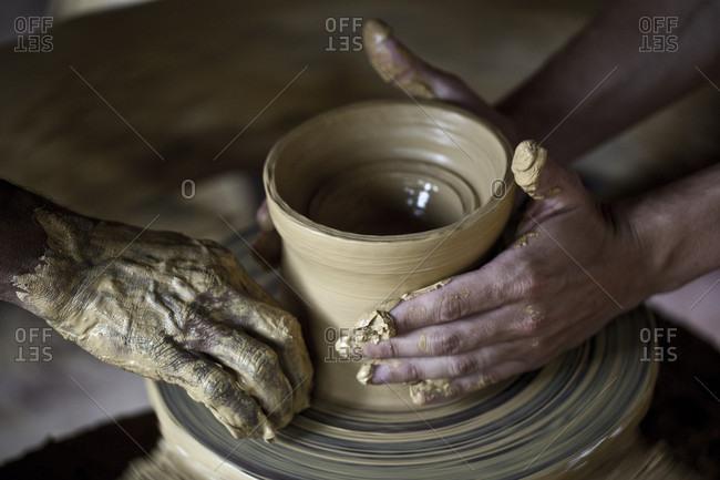 Traditional Pottery Session At Swaswara, Karnataka, India