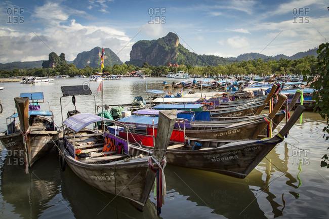 Longtail Boat Moored In Water Near Krabi, Thailand