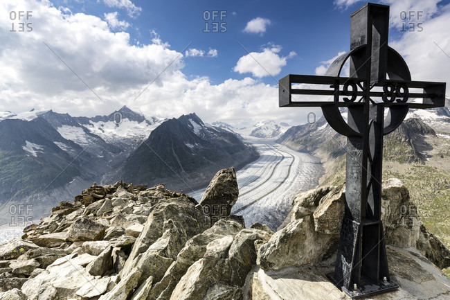 Iron Cross With The Aletsch Glacier In The Background In The Canton Of Wallis, Switzerland