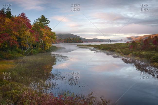 Autumn Color Along Lewey Lake Outlet, Adirondack Mountains, New York, Usa