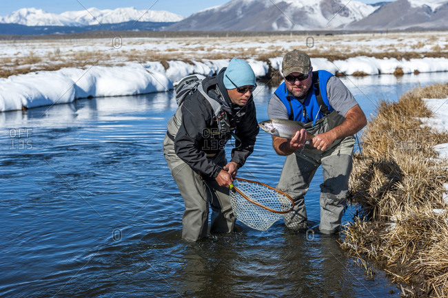 Two Fishermen Caught A Rainbow Fish On The Upper Owens River