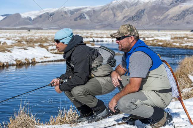 Two Fishermen Hunting For Trout On The Upper Owens River