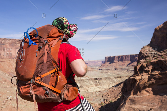 Rear View Of Person With Backpack Standing In Canyonlands National Park, Utah