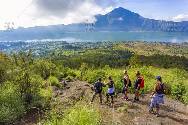 People Hiking In The Mountains Of Bali Islands, Indonesia