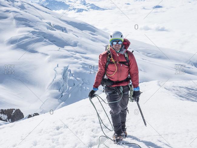 Portrait Of Climber Nears The Summit Of Colfax Peak