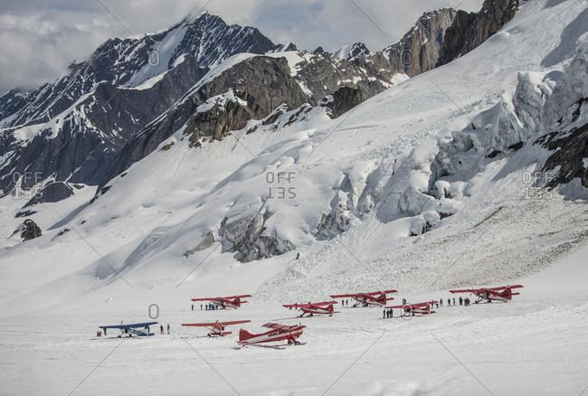 Ski Planes At The Don Sheldon Mountain House In Denali National Park