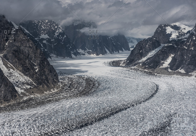 Aerial View Of Ruth Glacier And Ruth Gorge In Denali National Park, Alaska