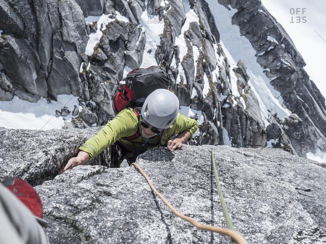 A Rock Climber On Middle Troll In Little Switzerland In Denali National Park