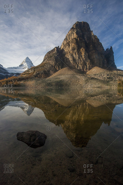 Reflection Of Mount Assiniboine Provincial Park In Lake