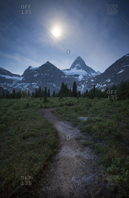 Hiking Trail Near Mount Assiniboine During Night