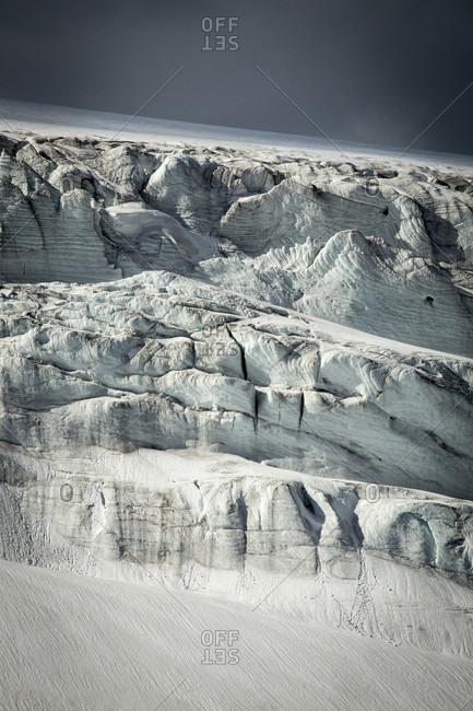 View Of Glacier Ice At Jasper Icefield In Alberta, Canada