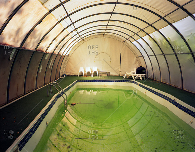 Pool in a Quonset hut