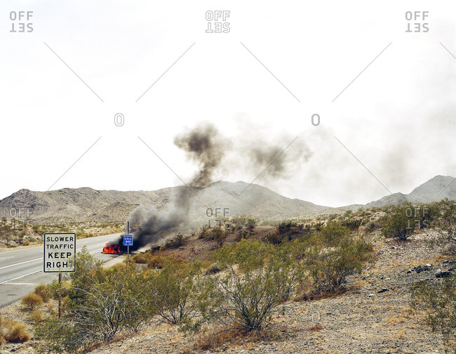 Fire on remote desert road