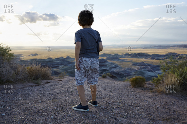 Back view of boy standing at desert overlook