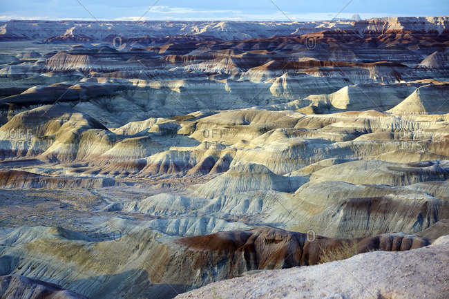 Overlooking the badlands of the Little Painted Desert County Park, Winslow, Arizona