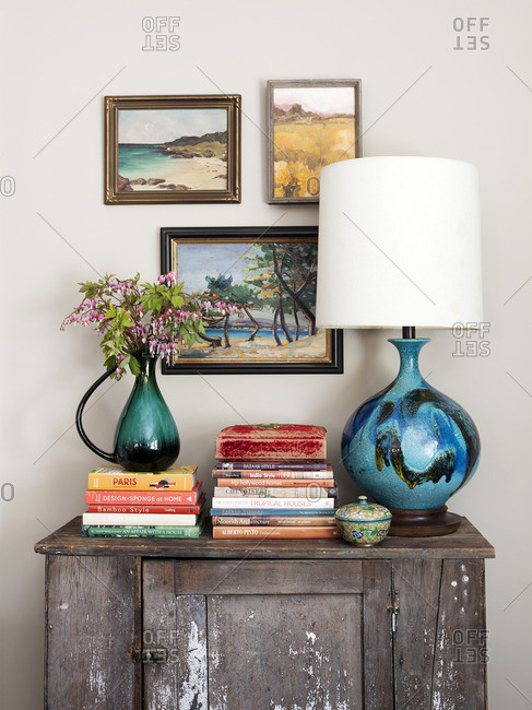 April 23, 2015: Side table with decorative items