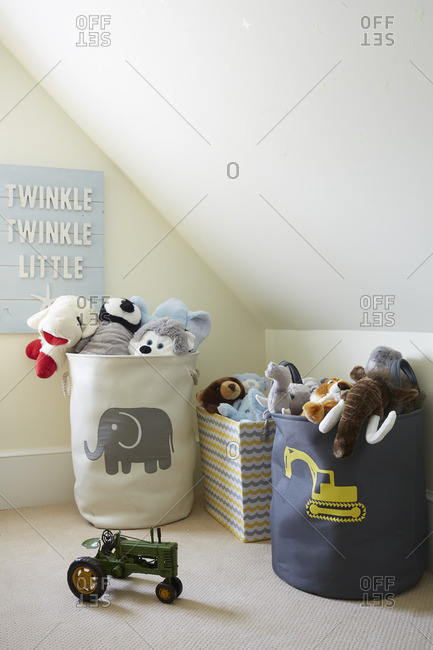July 28, 2014: Toy baskets in a kid's room
