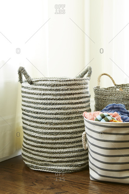Baskets for clothes in home
