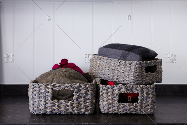 Baskets storing winter clothes
