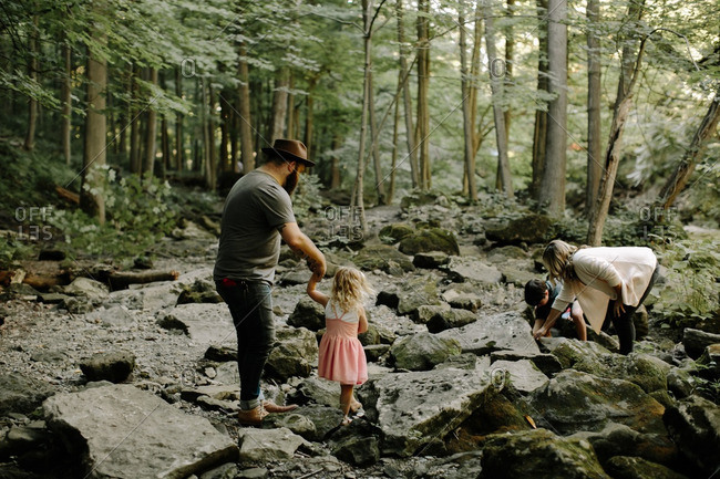 A family exploring forest