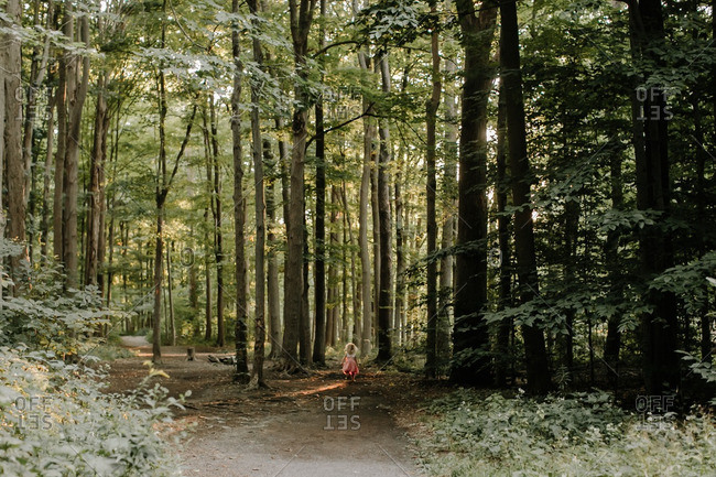 Girl walking down forest path